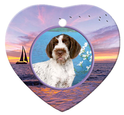 German Wirehair Pointer Porcelain Heart Ornament - Sunset