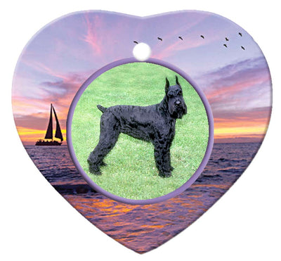 Giant Schnauzer Porcelain Heart Ornament - Sunset