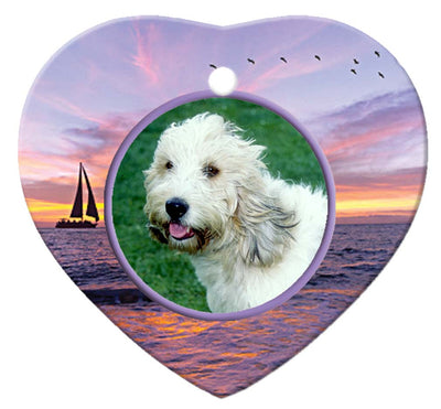 Grand Basset Griffon Vendeen Porcelain Heart Ornament - Sunset