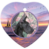 Great Dane Porcelain Heart Ornament - Sunset
