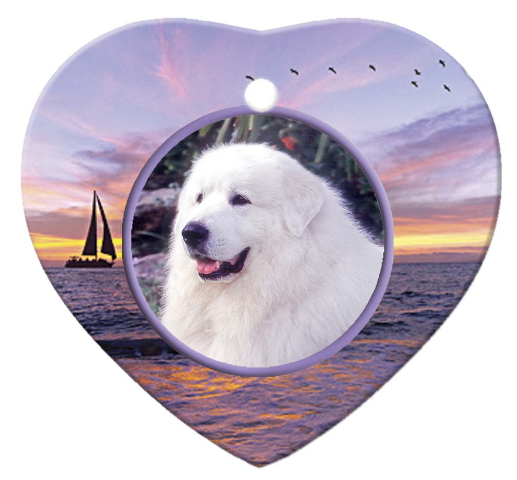 Great Pyrenees Porcelain Heart Ornament - Sunset