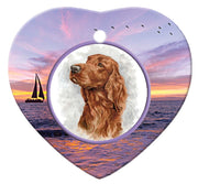 Irish Setter Porcelain Heart Ornament - Sunset