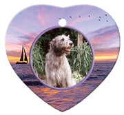 Irish Wolfhound Porcelain Heart Ornament - Sunset