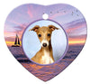 Italian Greyhound Porcelain Heart Ornament - Sunset
