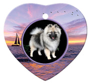 Keeshond Porcelain Heart Ornament - Sunset