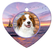 Kooikerhondje Porcelain Heart Ornament - Sunset