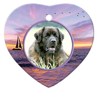 Leonberger Porcelain Heart Ornament - Sunset