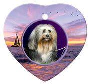 Lowchen Porcelain Heart Ornament - Sunset