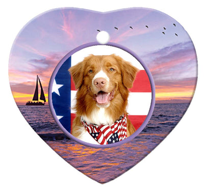 Nova Scotia Duck Toller Porcelain Heart Ornament - Sunset