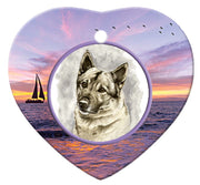 Norwegian Elkhound Porcelain Heart Ornament - Sunset