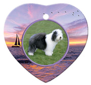 Old English Sheepdog Porcelain Heart Ornament - Sunset