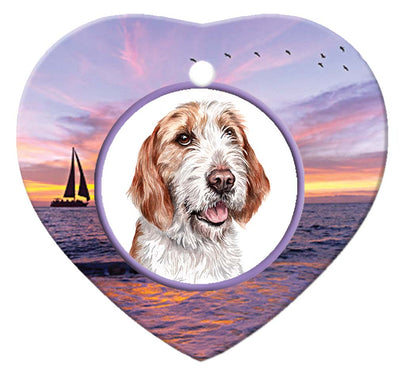 Otterhound Porcelain Heart Ornament - Sunset