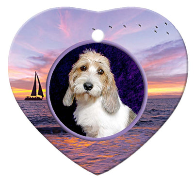 Petit Basset Griffon Vendeen Porcelain Heart Ornament - Sunset