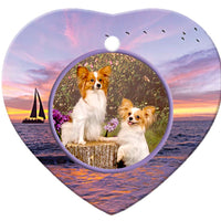 Papillon Porcelain Heart Ornament - Sunset