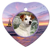 Jack Russell Porcelain Heart Ornament - Sunset