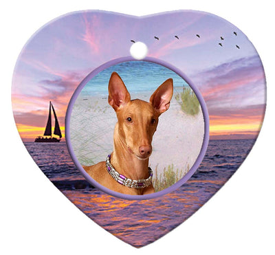 Pharaoh Hound Porcelain Heart Ornament - Sunset