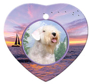 Sealyham Terrier Porcelain Heart Ornament - Sunset