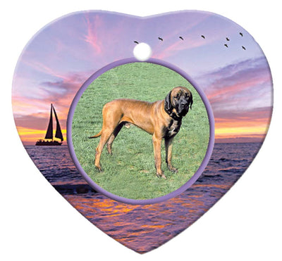 Tosa Inu Porcelain Heart Ornament - Sunset