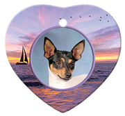 Toy Fox Terrier Porcelain Heart Ornament - Sunset