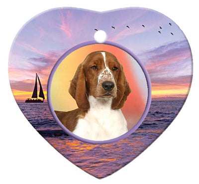 Welsh Springer Spaniel Porcelain Heart Ornament - Sunset