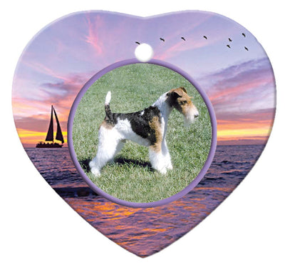 Wire Fox Terrier Porcelain Heart Ornament - Sunset