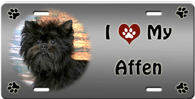 I Love My Affenpinscher License Plate