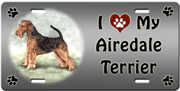 I Love My Airedale Terrier License Plate