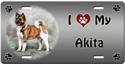 I Love My Akita License Plate