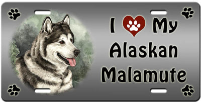 I Love My Alaskan Malamute License Plate