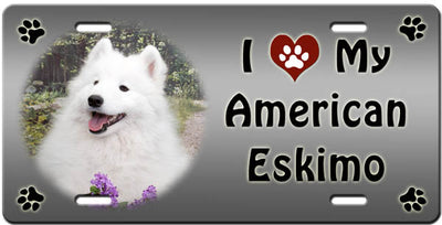 I Love My American Eskimo License Plate