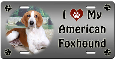 I Love My American Foxhound License Plate