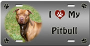 I Love My American Pitbull License Plate