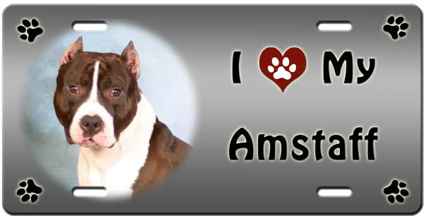I Love My American Staffordshire Terrier License Plate