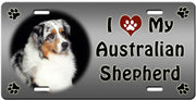 I Love My Australian Shepherd License Plate