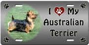I Love My Australian Terrier License Plate