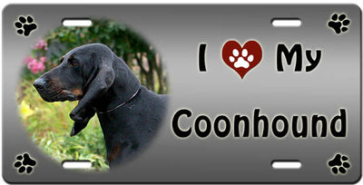 I Love My Black & Tan Coonhound License Plate