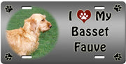 I Love My Basset Fauve License Plate