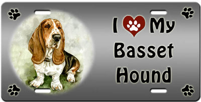 I Love My Basset Hound License Plate