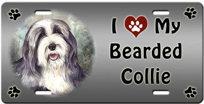 I Love My Bearded Collie License Plate