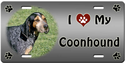 I Love My Bluetick Coonhound License Plate
