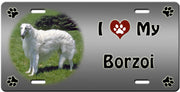I Love My Borzoi License Plate