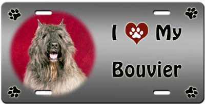 I Love My Bouvier des Flandres License Plate