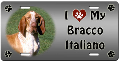 I Love My Bracco Italiano License Plate