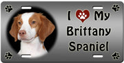I Love My Brittany Spaniel License Plate