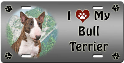I Love My Bull Terrier License Plate