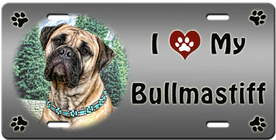 I Love My Bullmastiff License Plate
