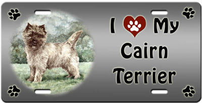 I Love My Cairn Terrier License Plate