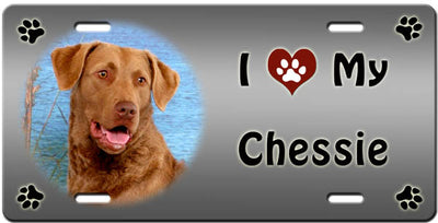 I Love My Chesapeake Bay Retriever License Plate