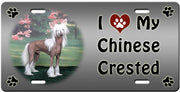 I Love My Chinese Crested - Hairless License Plate