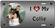 I Love My Collie Smooth License Plate